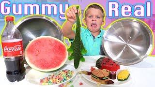 Gummy Food vs Real Food Blindfold Challenge! Gross Giant Gummi Candy Best 2017