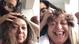 Daughter Styles Hair on Mom