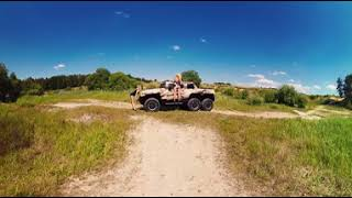2 Blonde Girls - Nikky Dream + Izzy Delphine sexy pose with 6x6 Custom HUMMER - 360 VR