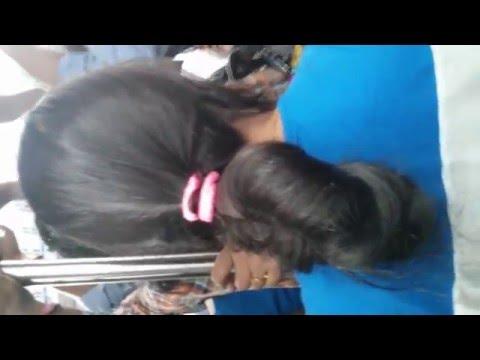 Long Hair Tumbling Bun (Tumbling Indian Long Hair Bun Locked in Pink Band)