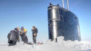 Nuclear Submarine Breaking Through Arctic Ice