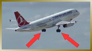 Turkish Airlines A320 | Takeoff from Leipzig Airport (without retracting landing gear)