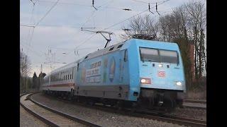 DB 101 102 mit Vedes Werbung am IC 2403 in Eschweiler Hbf