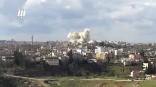 مشاهد مصوّرة لتكثيف الطيران الروسي لليوم الرابع على التوالي قصفه على الأحياء المحررة في مدينة درعا.