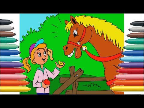 Drawing Coloring | The Girl's Horse | Video For Children