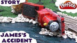 Play Doh Thomas The Train Story Accident Crash James Rocky Thomas Tank Playdough Diggin Rigs Chuck