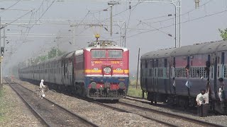Indian Railways - Slowest Overtake and High Speed Crossing !!