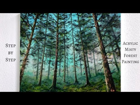 Misty Forest STEP by STEP Acrylic Painting Tutorial ColorByFeliks