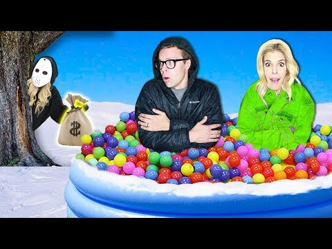 LAST TO LEAVE Giant Ball Pit in Snow Wins 10 000 Game Master Hidden Clues & Rebecca Zamolo Twin