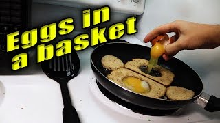🍳🥓 making Eggs in a Basket 🥓🍳 with Hot Dog Chef Extraordinaire PETER COOKS