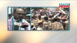 Face off Between Congress Workers & Police During Protest In Cuttack