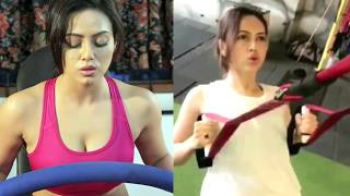 Sana Khan Hot Workout In Gym 2017