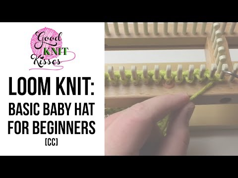How to Loom Knit a Hat - Beginner (baby beanie) with Closed Captions CC
