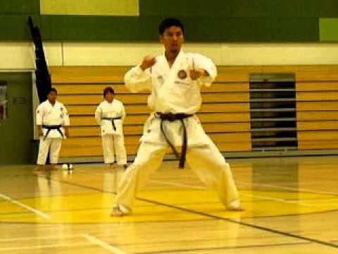 Tekki Shodan Shotokan Kata performed by 1st kyu brown belt adult male