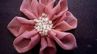 BEADED CENTER ORGANZA FABRIC FLOWER # 51, how to diy, prom, bridal, wedding, headbands, barrettes.