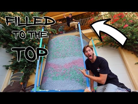 TRAMPOLINE FILLED WITH STYROFOAM PEANUTS COMPLETELY FULL