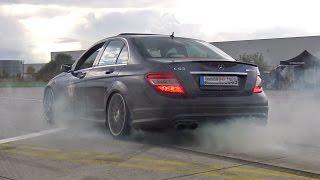 Mercedes-Benz C63 AMG w/ Fi Exhaust - MASSIVE BURNOUT & LOUD REVS!
