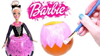 How To Make a DIY Halloween Barbie Pumpkin | Barbie Doll Halloween Crafts for Kids on DCTC