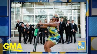 'GMA' Hot List: Woman riding scooter epically photobombs wedding party   GMA