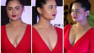 #Rashmidesai Rashmi Desai showing her Milky boobs in low neck red Dress
