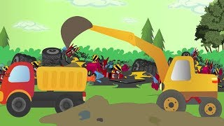 Truck & Digger Cartoons For Kids - Excavator, Crane Truck & Diggers - Construction Truck Cartoons