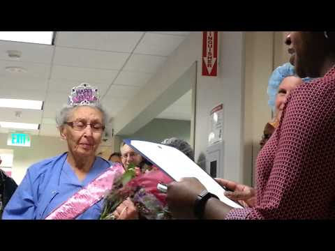 The oldest working nurse in the United States turns 90 and still going!