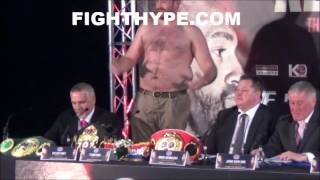 TYSON FURY RIPS OFF SHIRT, SHOWS OFF BELLY FAT, AND TELLS KLITSCHKO: