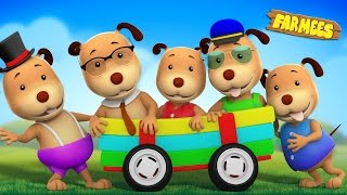 Five Little Dogs | Dog Song | Nursery Rhymes For Children by Farmees