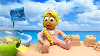 Yellow Baby in BEACH PARTY - Play Doh Stop Motion Cartoons For Kids