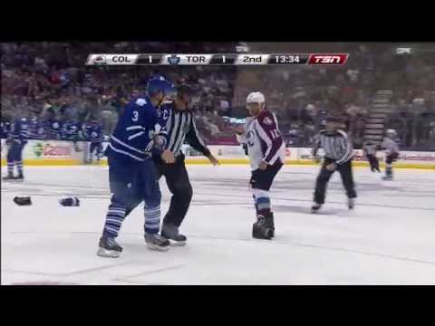 Some Heavy Hits and Phaneuf vs Iginla Stopped Oct 14th 2014 HD