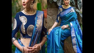 Brocade blouse with saree - brocade blouse pattern - brocade blouse designs for silk sarees