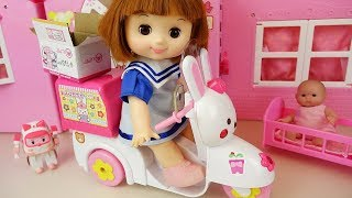 Delivery Bike baby doll car toys surprise eggs baby doli play