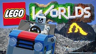 Lego Worlds   Skeletons, Bulldozers and EPIC Car Stunts!