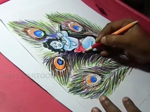 How to Draw Lord Peacock krishna Drawing for kids Step By Step