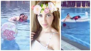 نسرين طافش مع خواتها واطفالهم يسبحون في مسبح مختلط !! شاهد