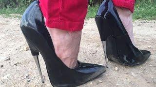 Versuch 2: Spazieren in extremen High Heel Pumps auf dem unebenen Weg pfennigabsatz 7,25