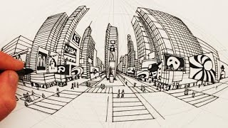 How to Draw in 5-Point Perspective: Times Square New York City