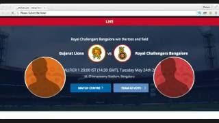 Vivo IPL 2016 Live Streaming 2016   Live Cricket Match Today Live   RCB v/s GL  Live Cricket