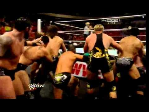 WWE RAW 4/14/14 - (11-on-3 Handicap Tag Team Match)