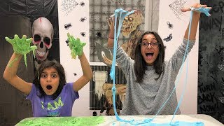 Halloween Slime Challenge with surprise Toys!!!! kids fun
