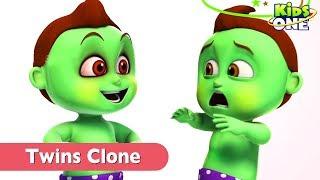 GREENY KIDDO CLONE | TWINS FUN in Real Life for Children - KidsOne