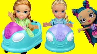 BUMPER Cars! Elsa & Anna toddlers in Shopkins World ! Some turn into Stones ! Dream come true