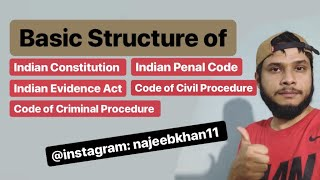 Basic Structure Of Indian Constitution, IPC, CrPC, IEA And CPC (For New Students)