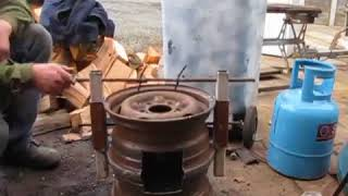 Wood Stove Made From Car Wheels