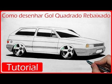 Como desenhar carros Gol Quadrado Rebaixado