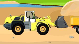 Great yellow Excavator | Formation and uses For Kids | Bajki Maszyny Budowlane - Koparki