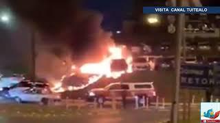 Incendian autos en agencia de Nuevo León