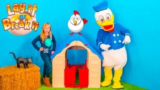 LAY OR BREAK IT Game Assistant Farm Fun with Donald Duck In Real Life Funny Game Video