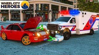 Ambulance Repair Cars Lights - Wheel City Heroes (WCH) - Street Vehicles Cartoon