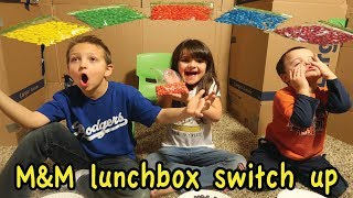 M&M Lunch Box SWITCH UP challenge in BOX FORT!!!